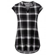 Youtalia Women's Casual Cap Sleeve Notch V Neck Plaid Tunic Blouse Shirts - Shirts - $39.99