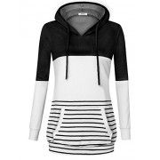 Youtalia Women's Casual Long Sleeve Color Block Hooded Shirts V Neck Striped Sweatshirts Hoodie With Kangaroo Pocket - Shirts - $39.99