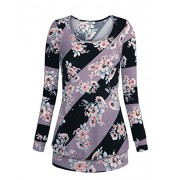 Youtalia Women's Casual Long Sleeve Floral Printed Scoop Neck Asymmetrical Striped Shirt Casual Blouses Tops - Shirts - $39.99