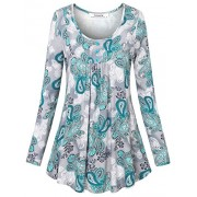 Youtalia Women's Casual Scoop Neck Long Sleeve Pleated Front Floral Printed Tunic Tops - Shirts - $39.99