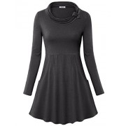 Youtalia Women's Cowl Neck Long Sleeve Empire Waist Casual Tunic Tops with Pockets - Shirts - $39.99
