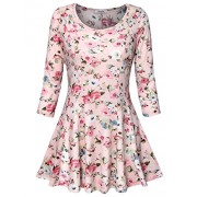 Youtalia Womens Floral Printed 3/4 Sleeve Scoop Neck A Line Curved Hem Casual Tunic Tops - Shirts - $39.99
