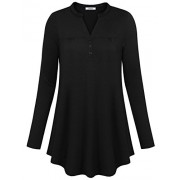 Youtalia Womens Henley Notch V Neck Long Sleeve Tops Button Down Casual Tunic Blouse - Shirts - $39.99