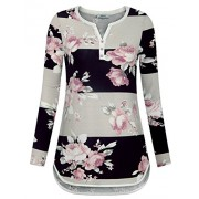 Youtalia Women's Long Sleeve Floral Printed Shirts V Neck Casual Striped Blouse Tops - Shirts - $39.99