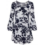 Youtalia Womens Scoop Neck 3/4 Bell Sleeve Blouse Casual Floral Print Tunic Shirts - Shirts - $39.99