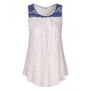 Youtalia Women's Sleeveless Chiffon Tank Top Round Neck Pleated Casual Blouse Tunic - Shirts - $39.99