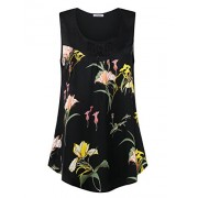 Youtalia Womens Sleeveless Tops Chiffon Scoop Neck Floral Pleated Tank Top - Shirts - $49.99
