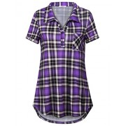 Youtalia Women's Summer Short Sleeve Plaid Blouses Button Down T Shirt Casual Tunics - Shirts - $38.86