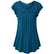 Youtalia Women's Summer Short Sleeve Scoop Neck Pleated Lace Casual Tunic Tops - Shirts - $49.99