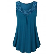 Youtalia Womens Summer Sleeveless Tops Lace Scoop Neck Pleated Front Office Tank - Shirts - $39.99