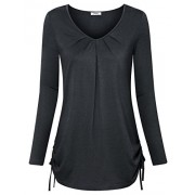 Youtalia Womens T Shirts Long Sleeve Tunic Scoop & V Neck Pleated Tops - Shirts - $39.99