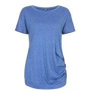 Youxiua Womens Casual Short Sleeve Tunic Loose Ruched Summer Plain Round Neck T-Shirts Tops - Košulje - kratke - $10.99  ~ 9.44€