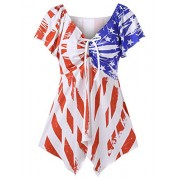 Ytwysj Women Sexy V Neck American Flag Stars and Stripes Bow Tie Front Dress Flowy Mini Dress - Dresses - $16.18