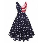 Ytwysj Women Summer 4th July Vintage American Flag Print Patriotic Deep V Neck Sleevess High Waist Tank Mini Swing Dress - Dresses - $18.99