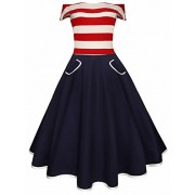 Ytwysj Women Summer 4th July Vintage American Flag Print Patriotic Stripe Off Shoulder High Waist Tank Mini Swing Dress - Dresses - $23.99
