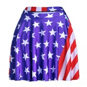 Ytwysj Women Vintage USA American Flag Stars and Stripes Printed Stretch High Waist Plain Flared Pleated Midi Skirt - Skirts - $13.39