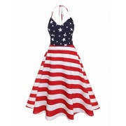 Ytwysj Women's Halter Neck Sleeveless 4th July American Flag Stars Stripes Print Casual Shirt Dress Tank Mini Swing Dress - Dresses - $17.99
