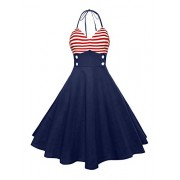 Ytwysj Women's Halter V Neck Sleeveless 4th July American Flag Stripes Print Retro Splicing Dress Tank Mini Swing Dress - Dresses - $23.99