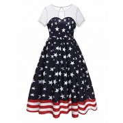 Ytwysj Women's Sexy Perspective Net Yarn Stitching 4th July American Flag Star Stripes Print Tank Mini Swing Dress - Dresses - $18.99