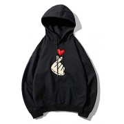 ZAFUL Cotton Pullover Hoodie Drop Shoulder Drawstring Printed Sweatshirt - Shirts - $31.86