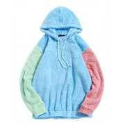 ZAFUL Men's Color Block Fuzzy Hoodie Drawstring Fluffy Fleece Pullover Hoodie - Shirts - $19.99
