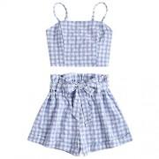 ZAFUL Women Bikini Set Spaghetti Strap Plaid Cami Cropped Top Checkered Shorts Holiday Wear - Swimsuit - $16.99
