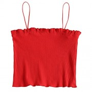 ZAFUL Women Cami Crop Top Spaghetti Strap Ribbed Tank Top Sleeveless Vest Camis Tank - Top - $13.99