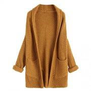 ZAFUL Women Cardigan Batwing Loose Knitted Draped Open Cardigan Sweater Jackets - Cardigan - $27.49
