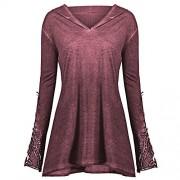 ZAFUL Women Plus Size Hoodies V Neck Long Sleeve Pullover Sweatshirt Outwear Tops Blouse - Outerwear - $13.99