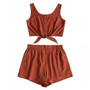 ZAFUL Women's 2 Piece Outfit Sleeveless Button up Crop Top and Shorts Set - Shorts - $17.99