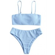 ZAFUL Women's Bandeau Bikini Set Removable Straps Textured High Cut Two Piece Swimsuits - Swimsuit - $18.99