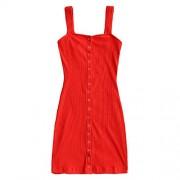 ZAFUL Women's Bodycon Mini Dress Sexy Spaghetti Strap Sleeveless Button up Knitted Club Dress - Dresses - $18.99