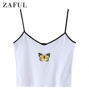ZAFUL Women's Butterfly Graphic Tank Top Sleeveless Stretch Casual Basic Camisole - Camisa - curtas - $12.99  ~ 11.16€