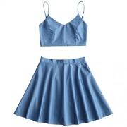 ZAFUL Women's Crop Top Skirt Set 2 Piece Outfit Sleeveless High Waist Beach Party Dresses - Skirts - $21.99