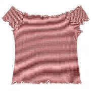ZAFUL Women's Knitted Top Basic Off Shoulder Short Sleeve Crop Top Ruffles Striped Ribbed Top - Top - $13.99