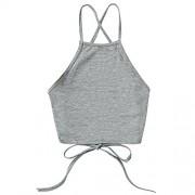 ZAFUL Women's Open Back Tank Top Sleeveless Off Shoulder Workout T Shirt Backless Crop Tops - Top - $10.99