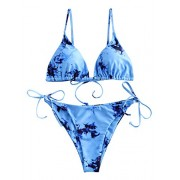 ZAFUL Women's Tie Dye String Bikini Swimsuit Triangle Tie Side Two Piece Bathing Suit - Swimsuit - $8.99