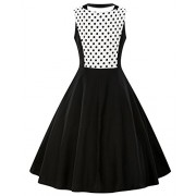 ZAFUL Women's Vintage 1950s Polka Dots Patchwok A-line Short Sleeve Cocktail Swing Dress - Dresses - $16.99