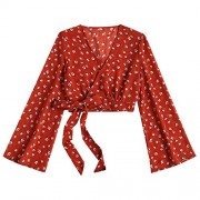 ZAFUL Women's Wrap Crop Top Deep V Neck Long Sleeve Floral Crop Tops Blouse Shirts - Top - $15.99