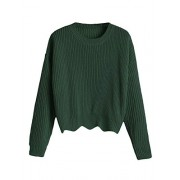 ZAFUL Women's Zigzag Hem Crewneck Pullover Solid Loose Knit Sweater - Shirts - $17.99