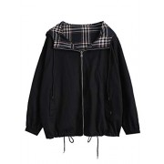 ZAFUL Women's Zip Up Drawstring Reversible Plaid Hooded Vintage Jacket - Outerwear - $34.99
