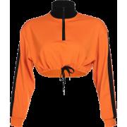 Zipper Lapel Trim Sweater Long Sleeve T- - Pullovers - $25.99