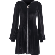 Zipper knitted long-sleeved little black skirt female suede solid color witch dr - Haljine - $25.99  ~ 22.32€