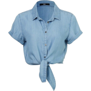 blue front-tie cropped shirt - Shirts -