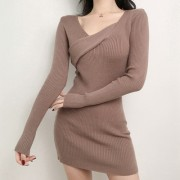 chic knitted long-sleeved V-neck dress - Платья - $27.99  ~ 24.04€