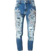 crystal embellished distressed jeans - Jeans -