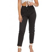 &harmony Women's Skinny Fit Pants - Trendy Black and White Colored Polka Dot - My look - $23.99