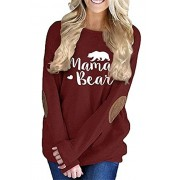 onlypuff Casual Tops for Women Long Sleeve Mama Bear Shirts Folral Print Tunics - Shirts - $11.99