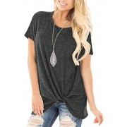 onlypuff Dark Gray T Shirt Solid Color Casual Loose Top for Women Short Sleeve L - Camisas - $17.99  ~ 15.45€