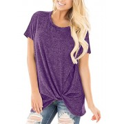 onlypuff Knot Twisted Front Shirts for Women Casual Short Sleeve Tunic Top Comfy - Shirts - $7.99